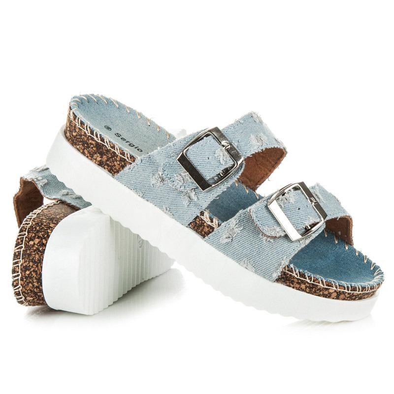 48d811883bd7 Džínsové modré dámske šľapky na korkovej podrážke