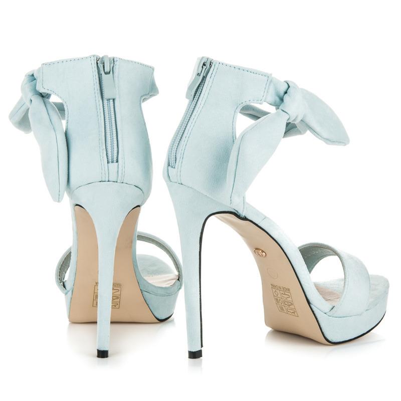 c99eba49e6ac ... Efektné modré sandále na vysokom ihlovom podpätku