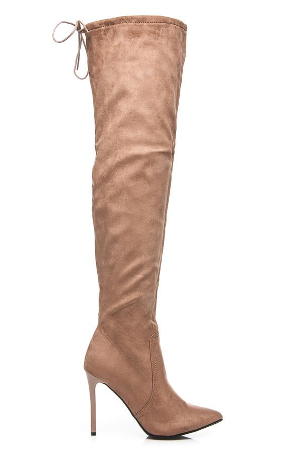 9d2cb4b3ba Elegantné béžové vysoké čižmy nad kolená na ihličkách