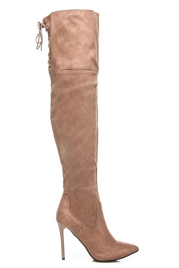 d7332e5132b9e Elegantné béžové vysoké čižmy nad kolená na ihličkách | AMIATEX.sk