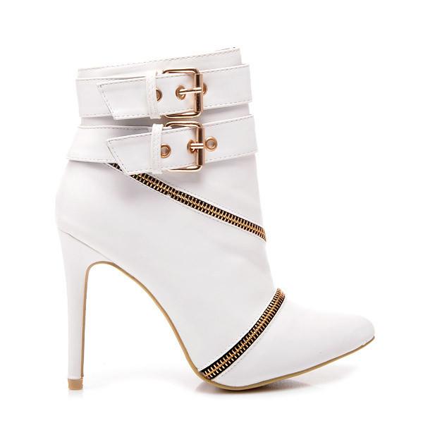 e4f3f0af5c Elegantné biele členkové topánky s prackami
