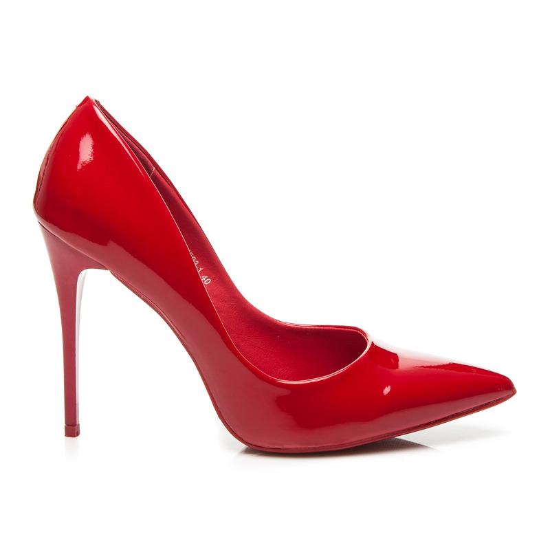 3d146f14fd6 Elegantné červené lodičky na vysokom ihlovom podpätku