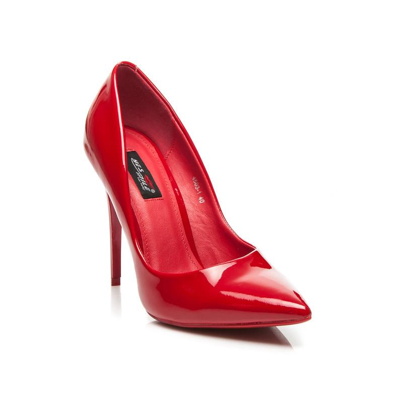 2fa1ad040ee Elegantné červené lodičky na vysokom ihlovom podpätku