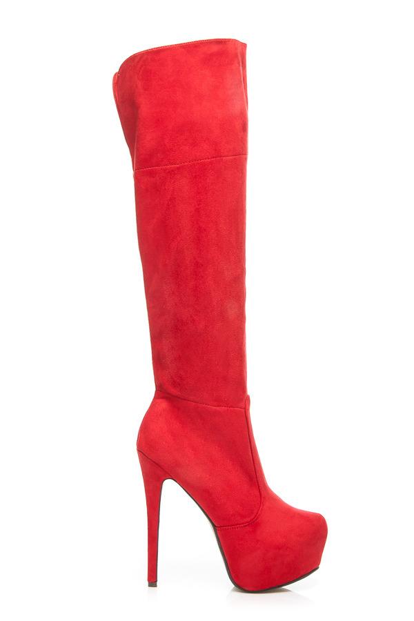 ab3950ac58 Elegantné červené semišové vysoké čižmy - mušketýrky