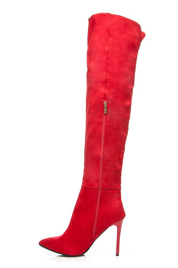 2ce4b782a1 ... Elegantné červené vysoké čižmy nad kolená na ihličkách