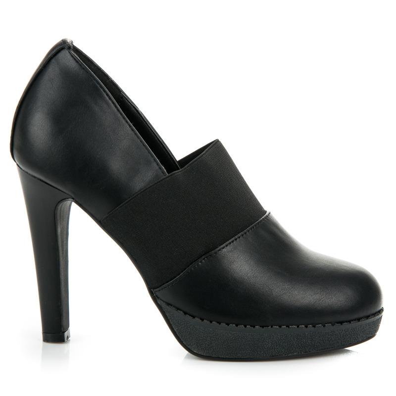 16a2ea7c26 Elegantné čierne poltopánky na podpätku