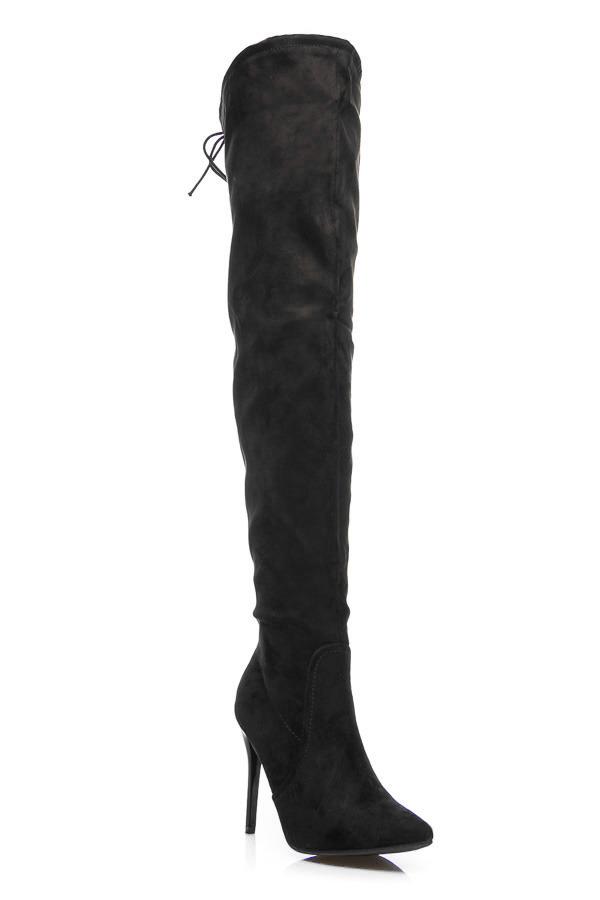 c7dee356bc21 Elegantné čierne vysoké čižmy nad kolená na ihličkách