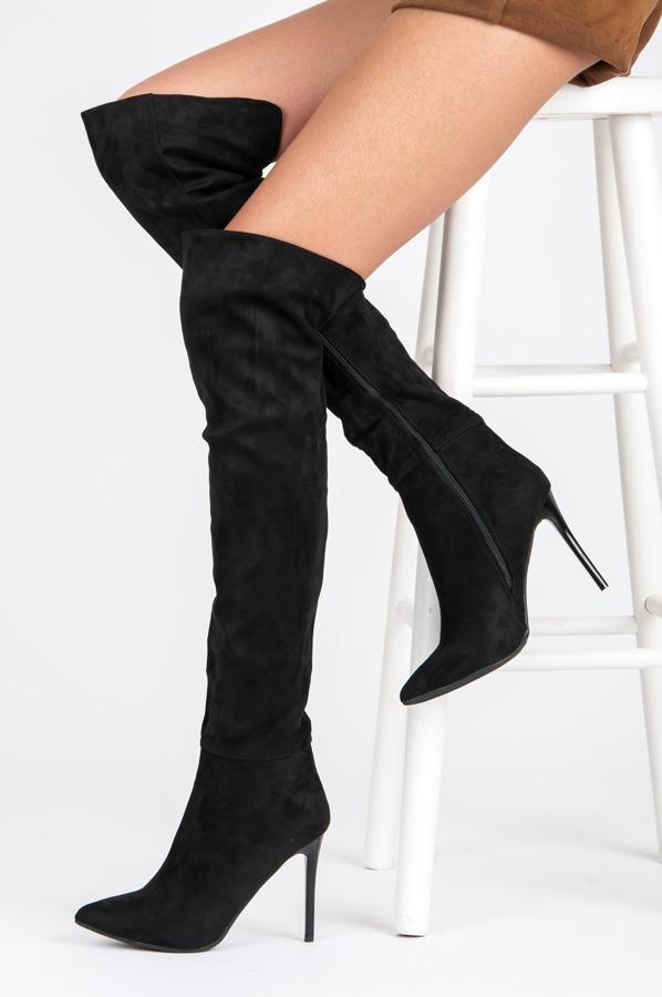 464bea9f1d Elegantné čierne vysoké čižmy nad kolená na ihličkách