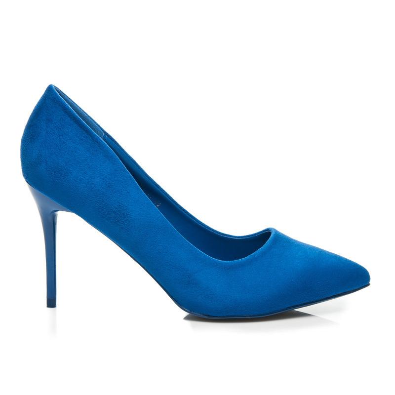 Elegantné modré semišové lodičky na ihlovom podpätku  123812d01e