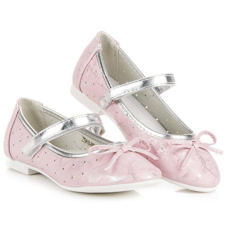 352a7daaf37c Elegantné ružové dievčenské balerínky na suchý zips