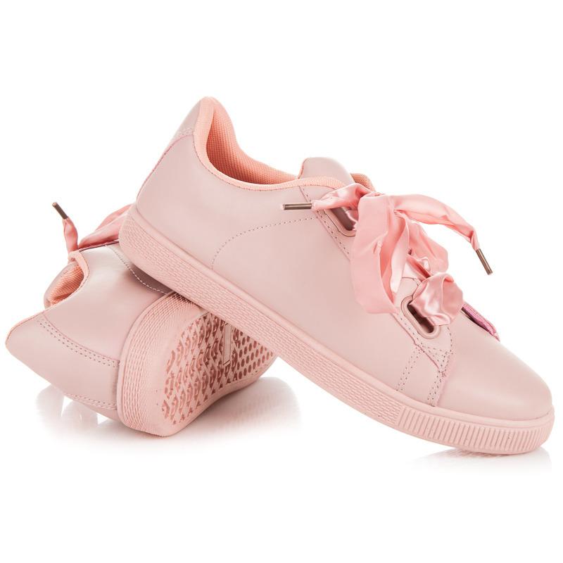 993ea42a9d322 Elegantné ružové tenisky viazané stužkou   AMIATEX.sk