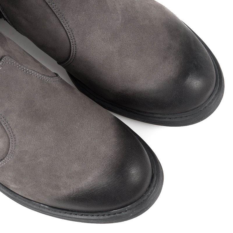 5b635624ec61 Elegantné šedé členkové topánky na platforme na vysokom podpätku ...