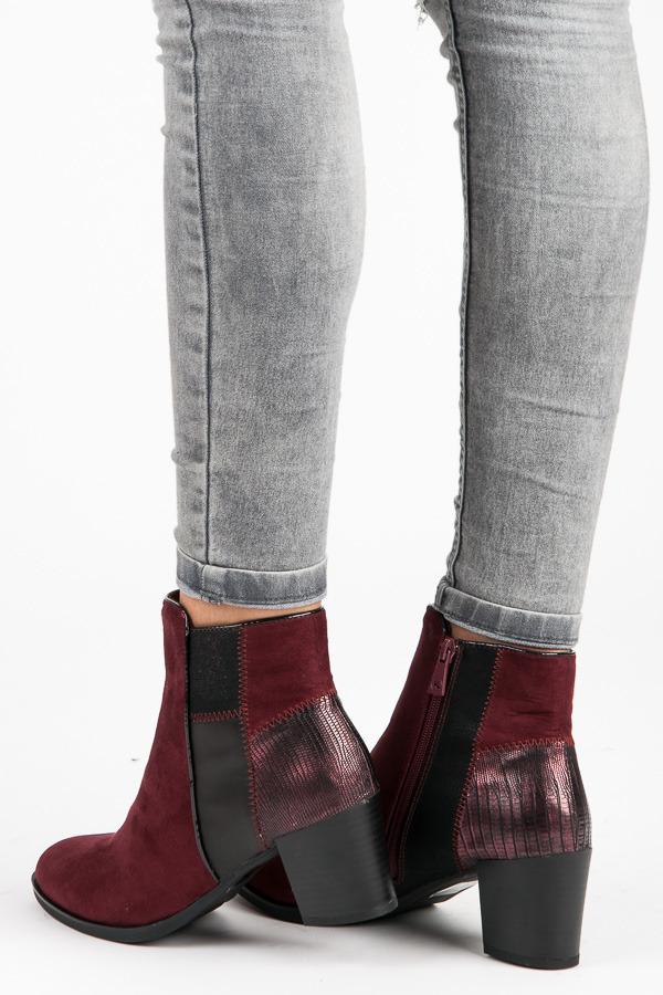 Elegantné vínové členkové topánky na stĺpiku  aac4992296b