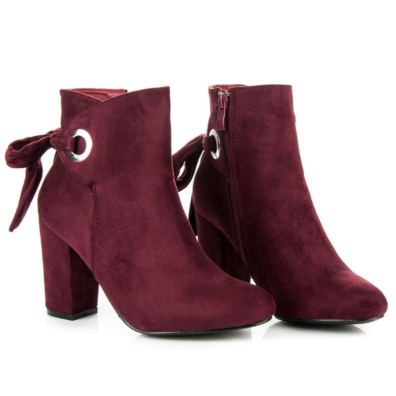 ... Elegantné vínové členkové topánky s mašľou ... 13057582d32