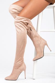 9ba3a9a5a1 Elegantné vysoké béžové semišové čižmy na ihličkovom podpätku