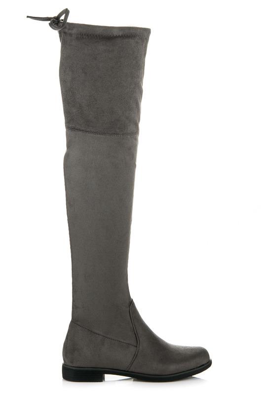 40f9f893f0 Elegantné vysoké šedé semišové čižmy