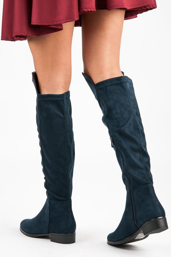 ad24ec750c Elegantné vysoko modré semišové topánky