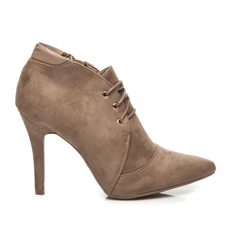9ebd2676bfca Elegantný khaki semišové členkové topánky na šnurovanie