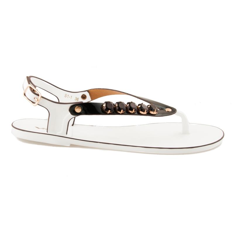 Fantastické bielo-čierne gumené sandále
