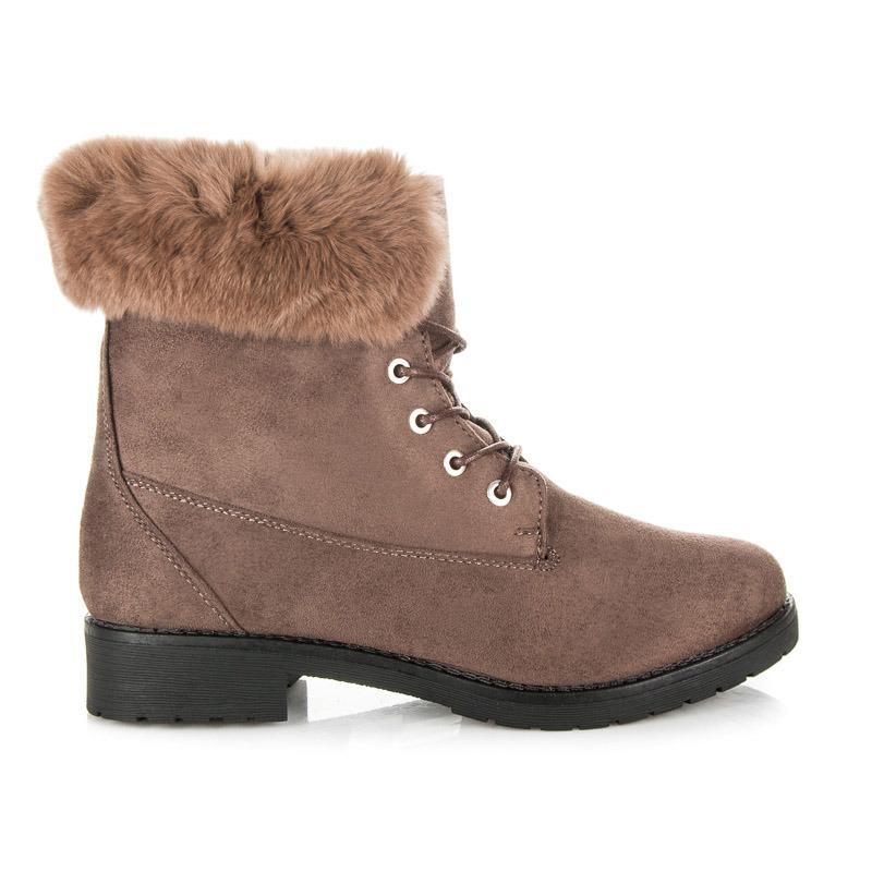 6937cb9539c6a Hnedé členkové topánky lemované kožušinou | AMIATEX.sk
