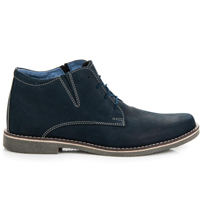 add8dde7b880 Jedinečné modré pánske členkové topánky na šnurovanie