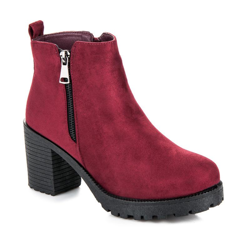 Jesenné červené členkové topánky na podpätku  7eaec75c6d0