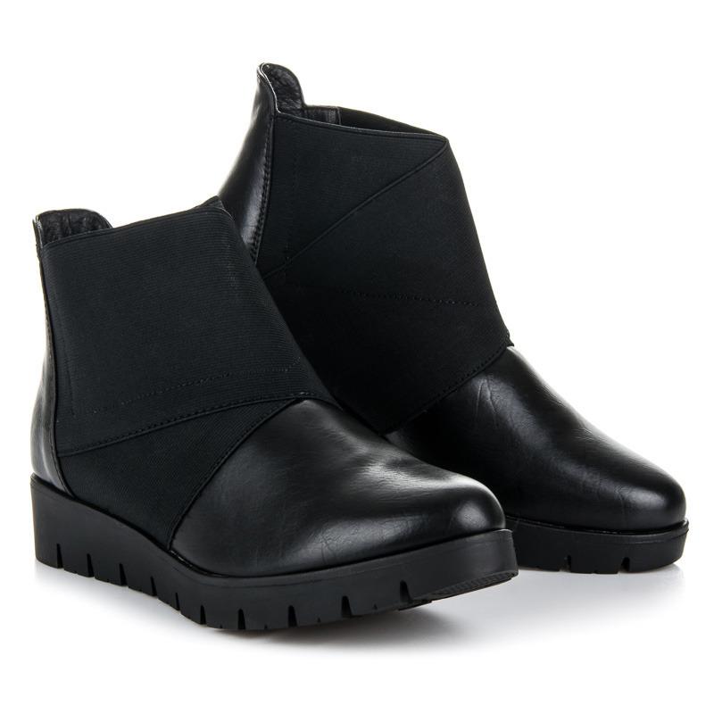 a1a3665e383f3 Klasické čierne členkové topánky na platforme | AMIATEX.sk