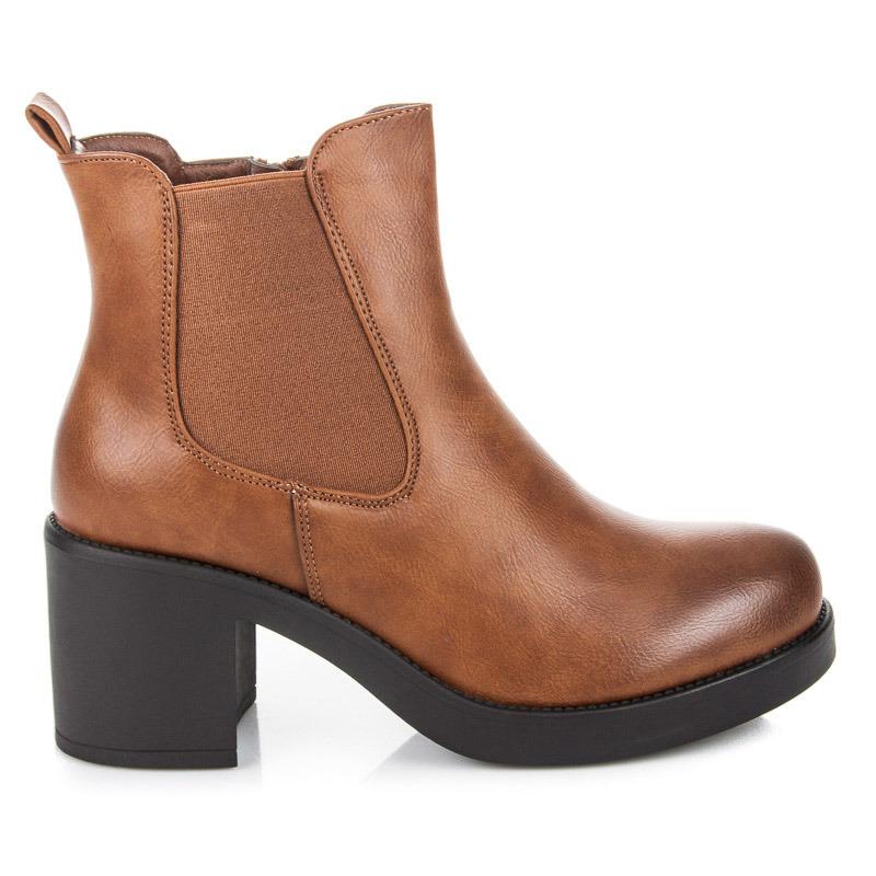 d42b1fa1a51c Klasické hnedé členkové topánky na platforme a podpätku