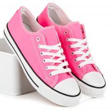 Klasické ružové tenisky na zaväzovanie na šnúrky 6ed6728770c