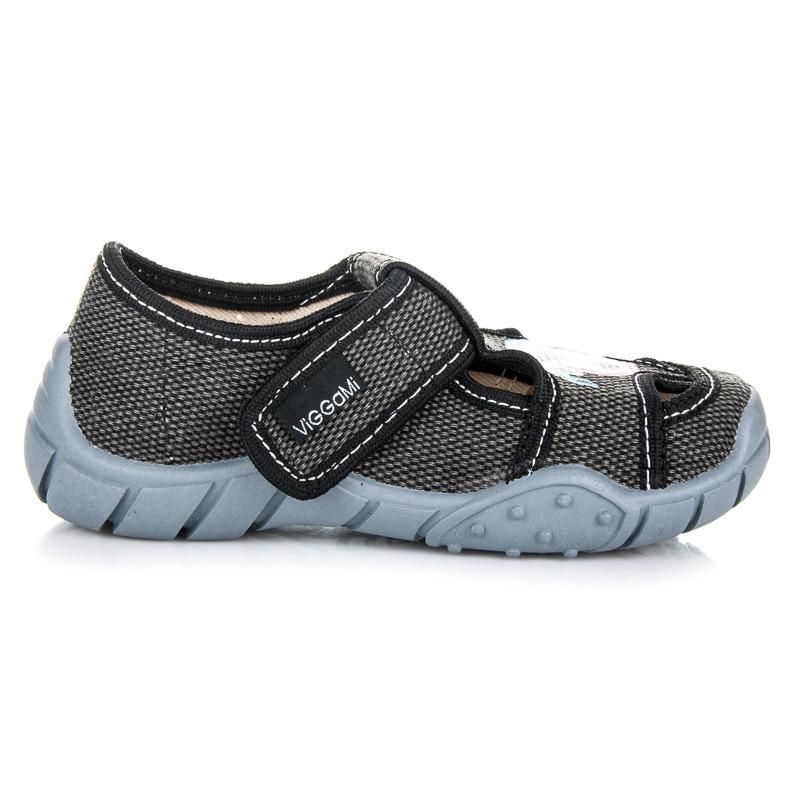 cab8e2532503 Klasické tmavošedé chlapčenské papuče na suchý zips