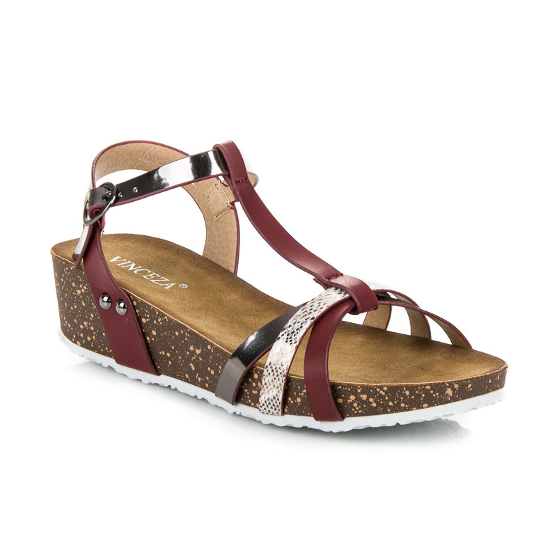 9ac69df4a0b7 Klasické vínové sandále na kline