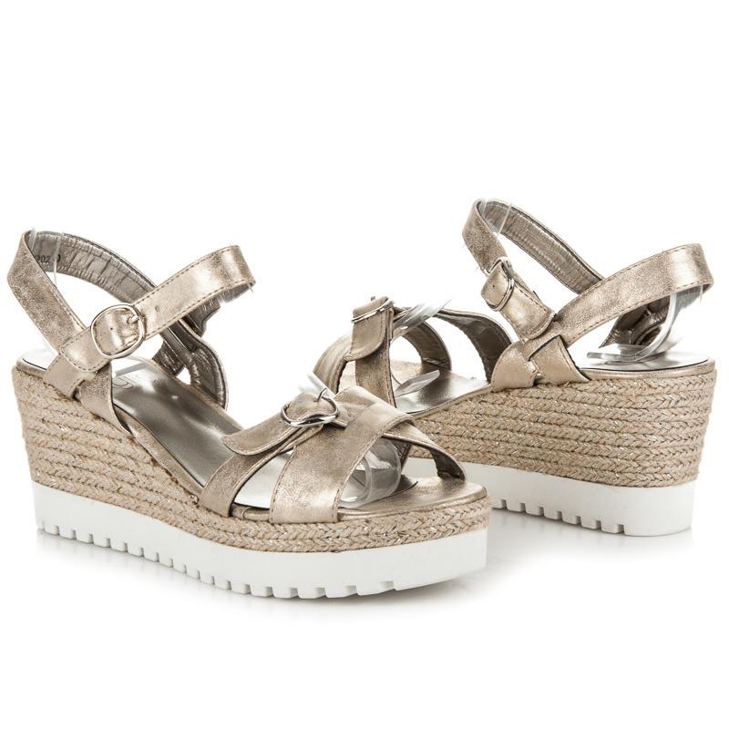 7772ecba062b Klasické zlaté sandále na kline