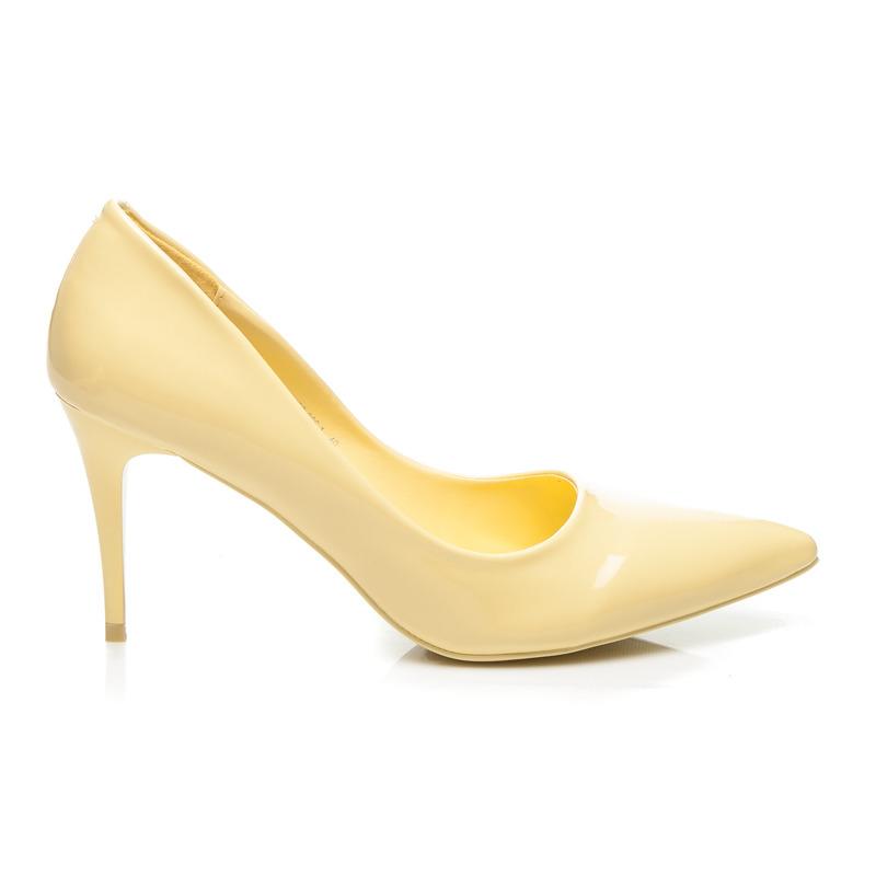 fefdfdd10510 Klasické žlté lakované lodičky na ihlovom podpätku