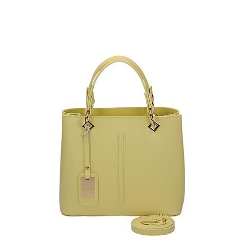 dcbee461cb Krásna žltá kožená kabelka s ozdobným príveskom