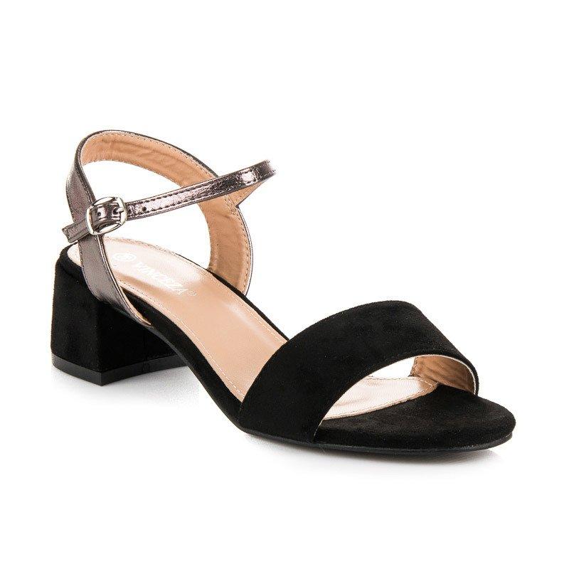 242614701582 Krásne čierne sandále na nízkom podpätku