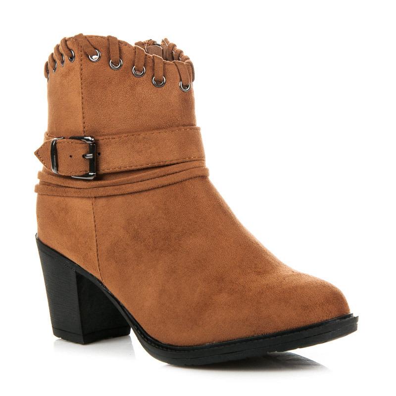 Krásne hnedé členkové dámske topánky v jazdeckom štýle  18c15ca5f14
