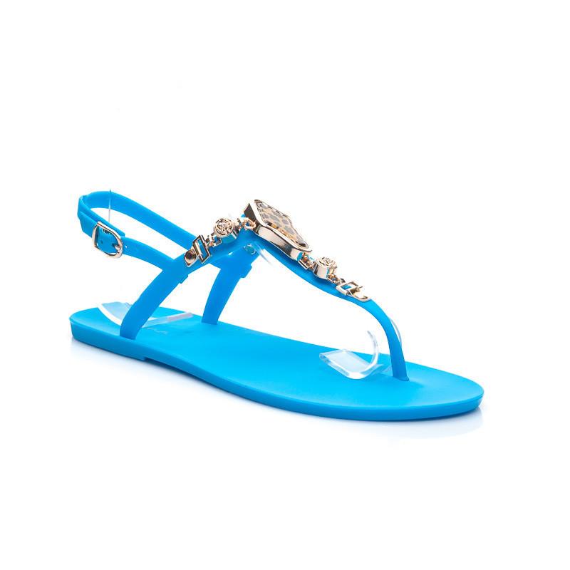 Krásne modré dámske sandálky