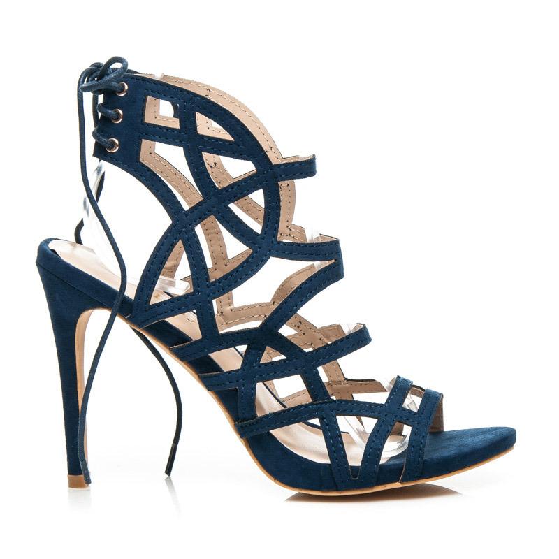 ad5ef171607d Krásne páskové tmavo modré dámske sandále