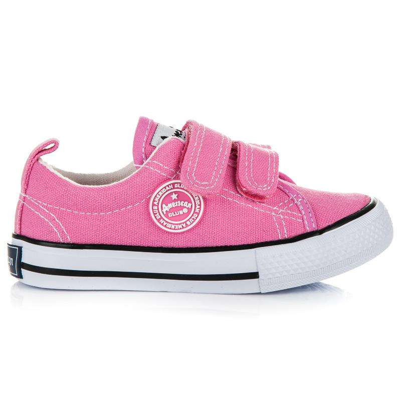 Krásne ružové detské tenisky na suchý zips