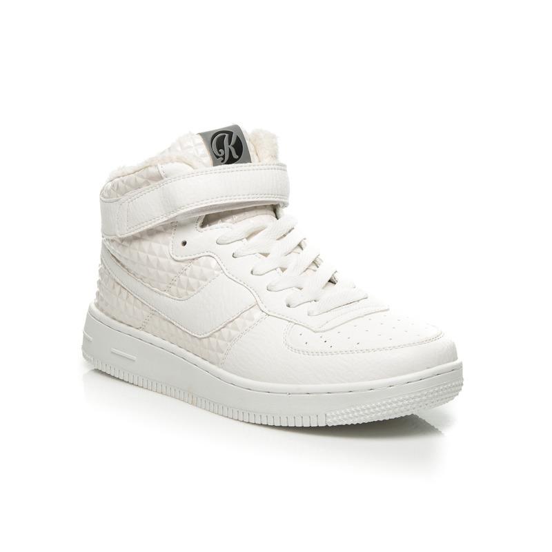 a161ca8469 Luxusné biele členkové tenisky na suchý zips a šnurovanie