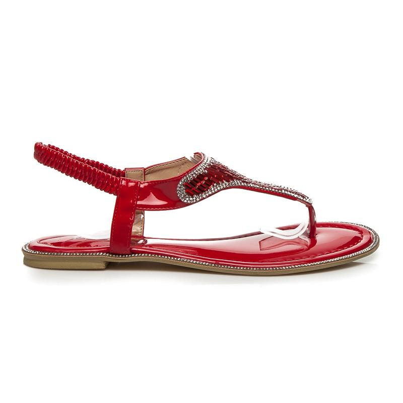 1a55bd153e45 Luxusné červené sandále s tenkými pásikmi a trblietavé kamienky ...