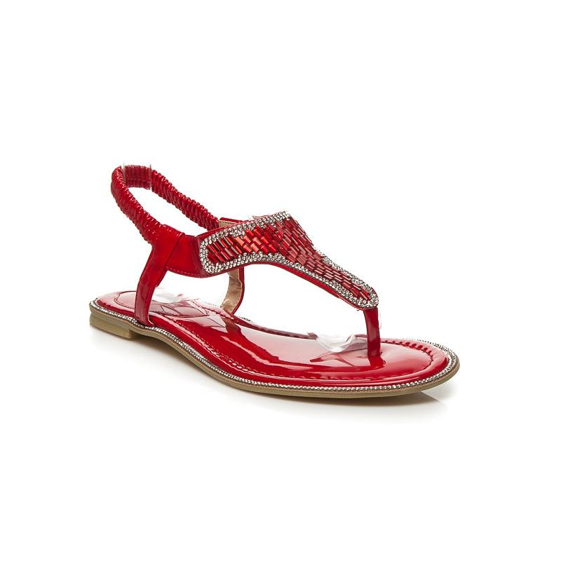 e258b6e21a84 Luxusné červené sandále s tenkými pásikmi a trblietavé kamienky ...