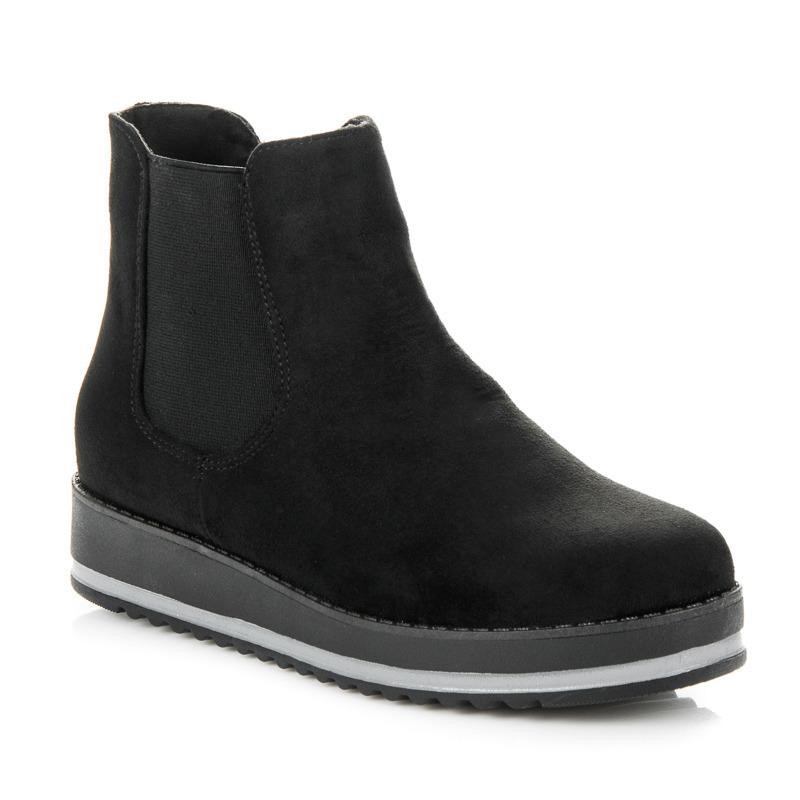 95ccbb4477 Luxusné čierne členkové topánky na platforme
