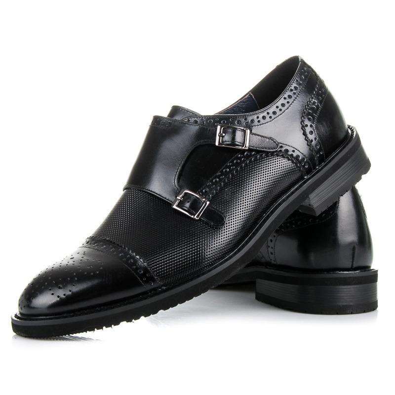 427fab631aca Luxusné čierne pánske kožené poltopánky s prackami