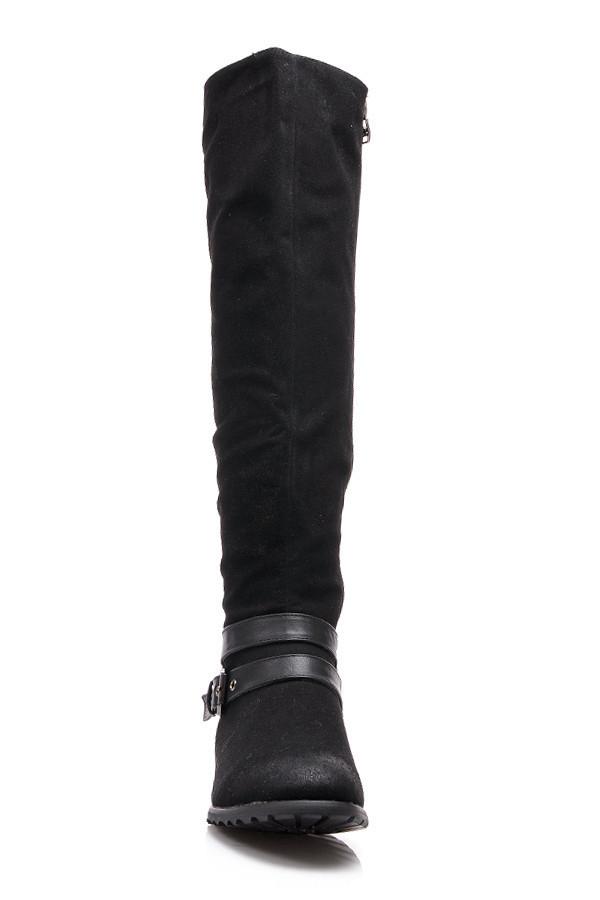13f67aae60 Luxusné čierne semišové čižmy s prackou u členka
