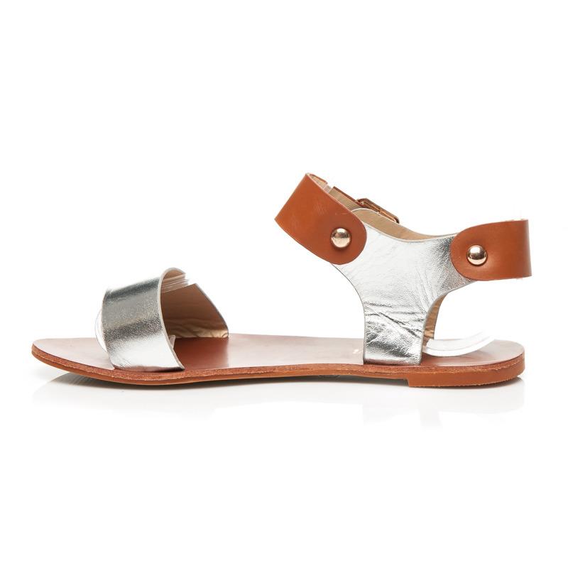 8312145cfcdb Luxusné dámske hnedo-strieborné sandále