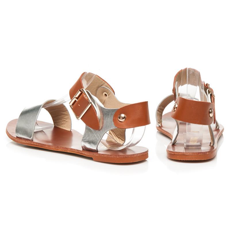 7dcae693d090 ... Luxusné dámske hnedo-strieborné sandále