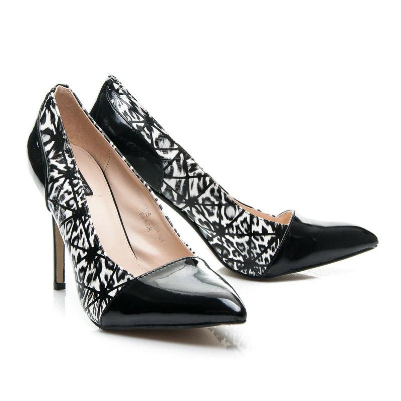 Luxusné dámske lodičky - čierne s bielym vzorom  510528f5f6e