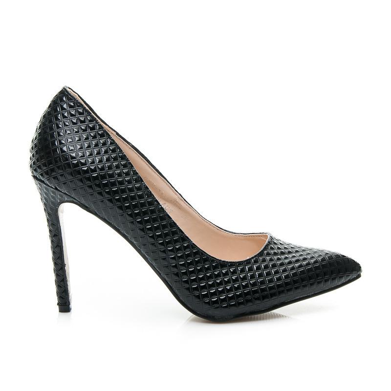 5a4d93c9ed Luxusné dámske lodičky - čierne s vzorom