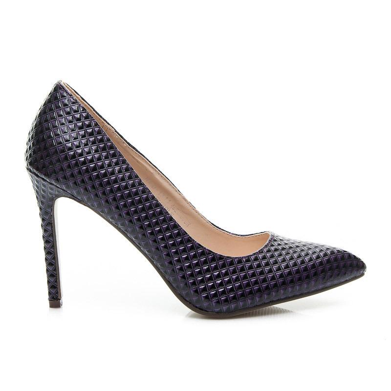 5b690181bdce Luxusné dámske lodičky - fialové s vzorom